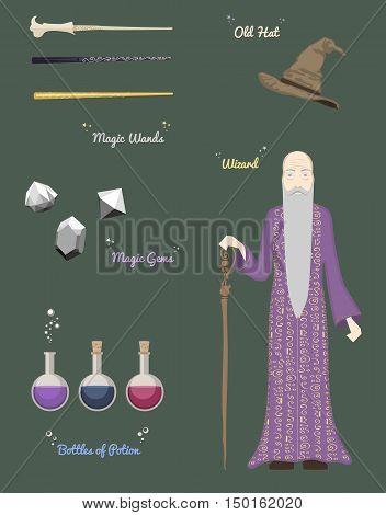 Magic man and crystal ball vector illustration.