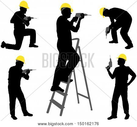 workers with drill silhouette