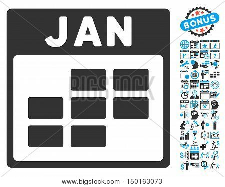 January Calendar Page icon with bonus calendar and time management graphic icons. Vector illustration style is flat iconic bicolor symbols, blue and gray colors, white background.