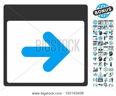 Next Calendar Page pictograph with bonus calendar and time management pictograph collection. Vector illustration style is flat iconic bicolor symbols, blue and gray colors, white background.