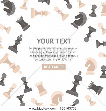 Chess Pieces Banner with Place for Your Text. Flat Design Style. Vector illustration