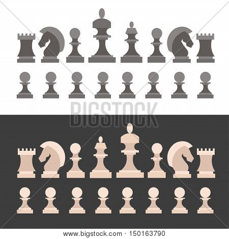 Chess Pieces Set on Black and White Background. Game for Intellectual. Flat Design Style. Vector illustration