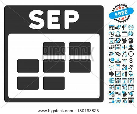 September Calendar Page pictograph with bonus calendar and time management pictograph collection. Vector illustration style is flat iconic bicolor symbols, blue and gray colors, white background.