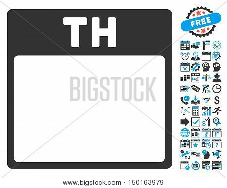 Thursday Calendar Page pictograph with bonus calendar and time management design elements. Vector illustration style is flat iconic bicolor symbols, blue and gray colors, white background.