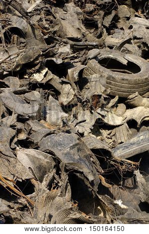 Old tires dump recycling theme ,environmental protection.