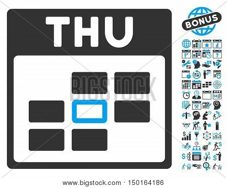 Thursday Calendar Page icon with bonus calendar and time management design elements. Vector illustration style is flat iconic bicolor symbols, blue and gray colors, white background.