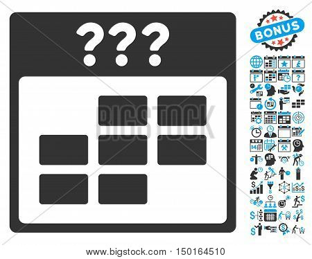 Unknown Calendar Month pictograph with bonus calendar and time management icon set. Vector illustration style is flat iconic bicolor symbols, blue and gray colors, white background.