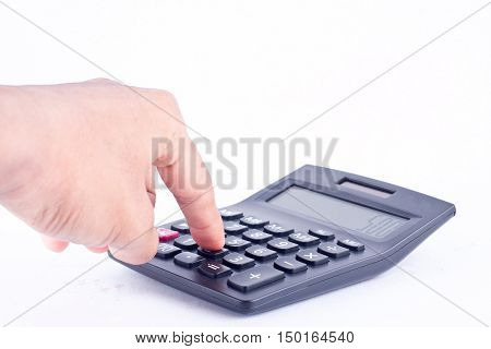 finger hand put  button calculator for calculating the numbers accounting accountancy business and work hard    on white background  isolated