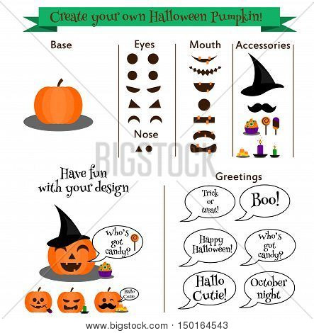 Create your own halloween pumpkin character constructer with accessories phrases. Set for design your own emoticons stickers party invitations. Creative halloween game set for kids and adults