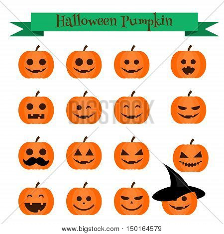 Cute vector halloween pumpkin emoji icons set. Emoticons stickers isolated design elements icons for mobile applications social media chat and other business