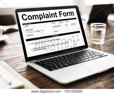 Business Technology Complaint Form concept