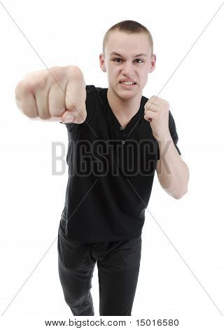 Angry man punched