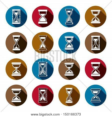 Set of antique classic hourglasses. Retro clocks collection. Time idea stylized icons isolated.