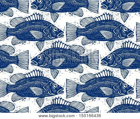 Freshwater vector fish endless pattern nature and marine theme seamless tiling.