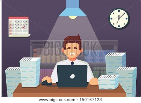 Funny flat Cartoon Character. Tired Office Worker Sitting and Working All Night. Vector Illustration eps10