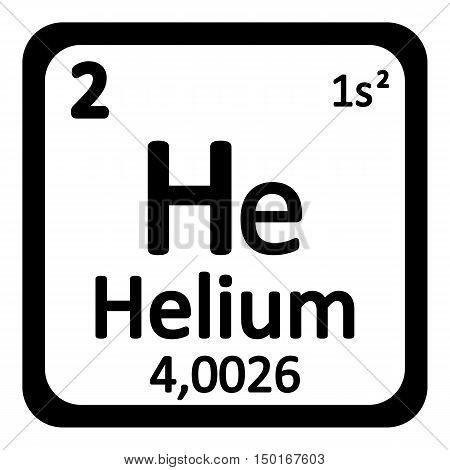 Periodic table element helium icon on white background. Vector illustration.