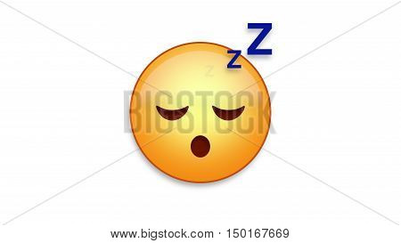 Sleeping emoji emoticon. Easy integration in photo and video.