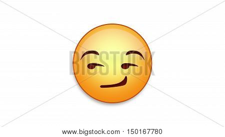 Smirking emoji emoticon. Easy integration in photo and video.