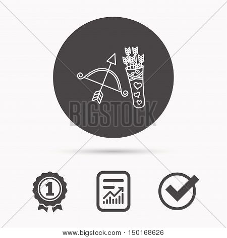 Amour arrows and bow icon. Valentine weapon sign. Report document, winner award and tick. Round circle button with icon. Vector