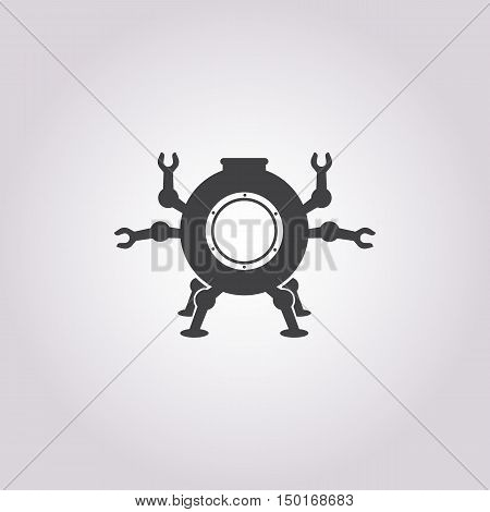 submarine icon on white background for web