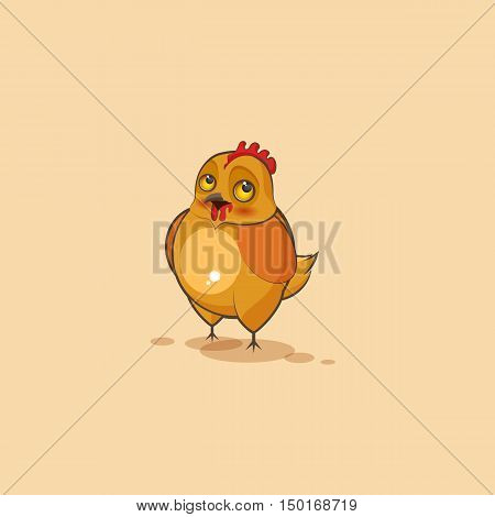 Vector Stock Illustration isolated Emoji character cartoon Hen embarrassed, shy and blushes sticker emoticon for site, infographics, video, animation, websites, e-mails, newsletters, reports, comics