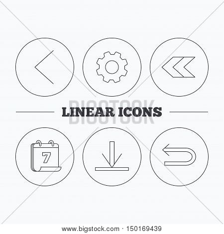 Arrows icons. Download, left direction linear signs. Next, back arrows flat line icons. Flat cogwheel and calendar symbols. Linear icons in circle buttons. Vector