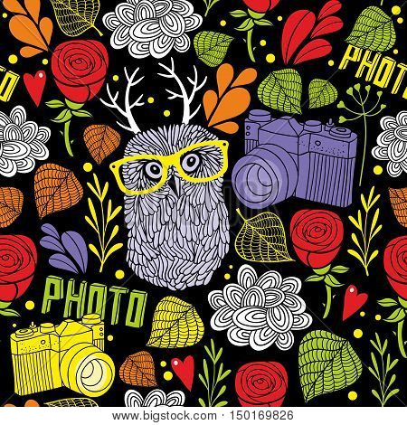 Colorful seamless pattern with cute owl with horns and summer plants. Endless background in vector.