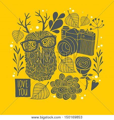 Owl in eyeglasses with horns on the autumn background. Vector print in vintage style.