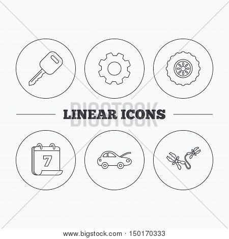 Car key, wheel and repair service icons. Battery terminal linear sign. Flat cogwheel and calendar symbols. Linear icons in circle buttons. Vector