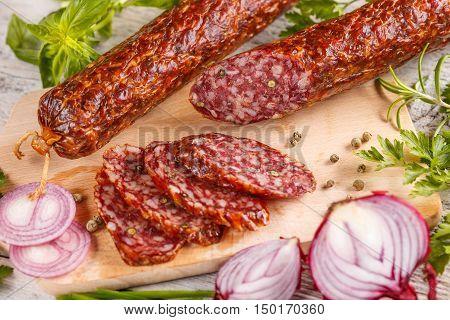 Slices Of Salami Sausage