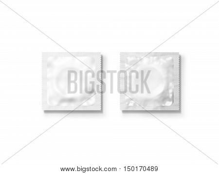 Blank white condom packet mockup set isolated clipping path 3d illustration. Sexual protection rubber packaging design mock up front back side. Condoms sachet pack template. Sex protection brand.
