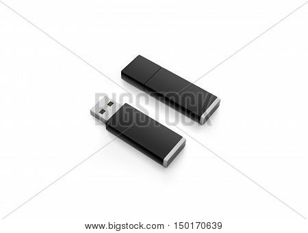Blank black usb drive design mock up 3d rendering clipping path. Clear plastic flash disk template opened and closed. Plain memory device mockup. Clean pen drive branding presentation. Micro card.