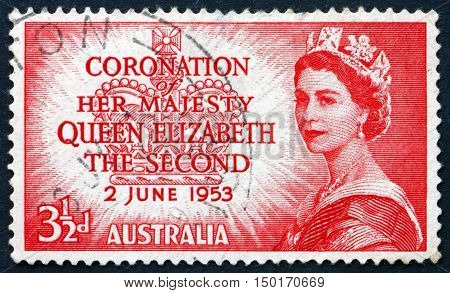AUSTRALIA - CIRCA 1953: a stamp printed in Australia shows Queen Elizabeth The Second Coronation circa 1953