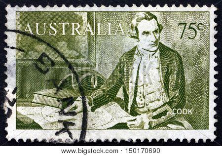 AUSTRALIA - CIRCA 1966: a stamp printed in Australia shows Capt. James Cook Explorer circa 1966