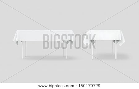 Bank white table cloth mock up set clipping path 3d rendering. Clear tablecloth design mockup isolated. Fabric space satin on desk template. Kitchen table clean textile overlay. Setting cafe table.