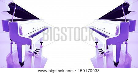Two Lilac grand piano on a white background. 3D illustration