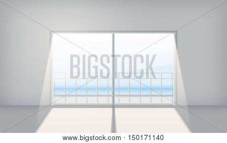 Sliding doors with the outgoing light. Realistic vector illustration EPS 10. Interior. Sliding glass door. Sea view.