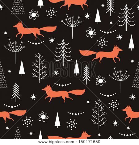 seamless Christmas pattern, Christmas trees and foxes