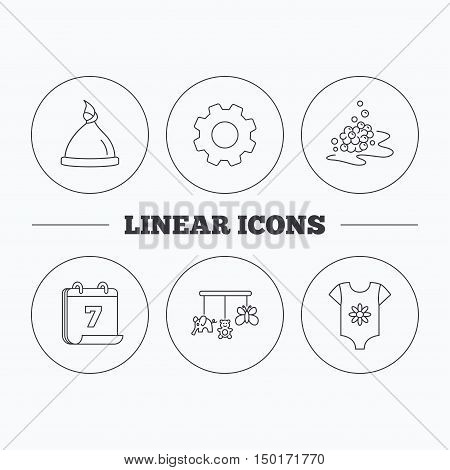Baby clothes, bath bubbles and hat icons. Baby toys linear signs. Flat cogwheel and calendar symbols. Linear icons in circle buttons. Vector