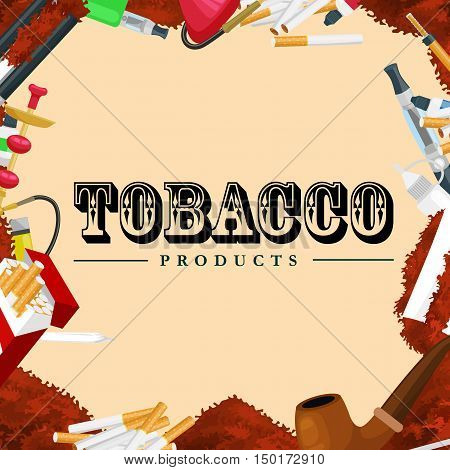 Smoking tobacco decorative icons set with cigarettes hookah cigars on brown background isolated vector illustration