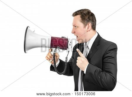Angry boss shouting with a megaphone. Isolated on white.