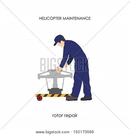 Repair and maintenance of helicopters. Repair of the main rotor. Vector illustration
