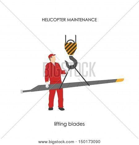 Repair and maintenance of helicopters. Lifting blades. Vector illustration