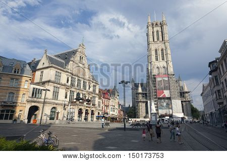 Ghent, Belgium, 27 august 2016: theatre and st baafs church in old city of ghent in belgium