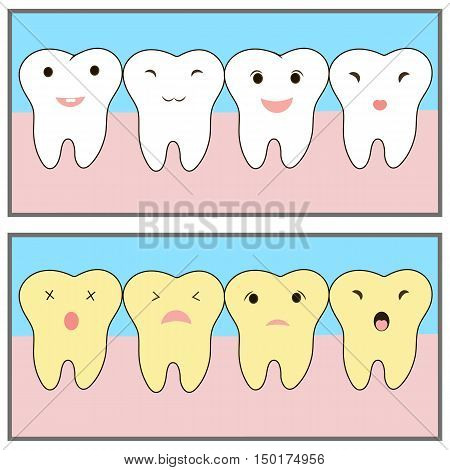 teeth whitening before after example. Cute characters. funny emotions