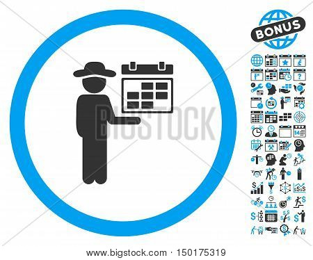 Gentleman Schedule icon with bonus calendar and time management images. Vector illustration style is flat iconic bicolor symbols, blue and gray colors, white background.