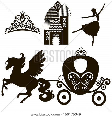 Cinderella set of collections. Crown Vector illustration. design elements for little Princess glamour girl. cards birthday wedding invitation. the carriage the Palace Pegasus dancing tiara.