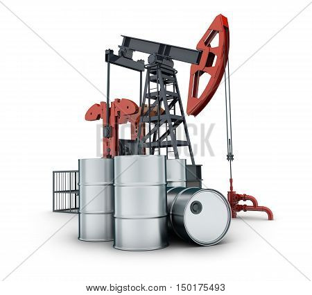 oil pump and barrel on white background (done in 3d rendering)