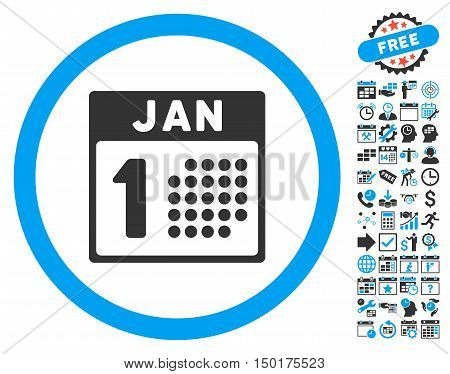 January First icon with bonus calendar and time management images. Vector illustration style is flat iconic bicolor symbols, blue and gray colors, white background.