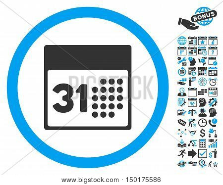 Last Month Day pictograph with bonus calendar and time management graphic icons. Vector illustration style is flat iconic bicolor symbols, blue and gray colors, white background.
